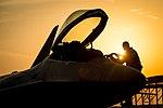 U.S. Air Force pilot climbs into an F-22 Raptor.jpg