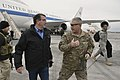 U.S. Defense Secretary Ash Carter talks with U.S. Army Gen. John F. Campbell, commander of U.S. forces in Afghanistan and Operation Resolute Support after arriving in Kabul, Afghanistan 150221-D-NI589-038a.jpg