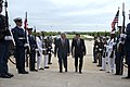 U.S. Defense Secretary Chuck Hagel, left, escorts Georgian Defense Minister Irakli Alasania through an honor cordon at the Pentagon, May 7, 2014 140507-D-BBW835-083.jpg