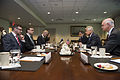 U.S. Defense Secretary Chuck Hagel, second from right, meets with Estonian Defense Minister Sven Mikser, second from left, at the Pentagon 140429-M-EV637-061.jpg
