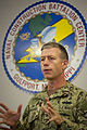 U.S. Navy Capt. Frederick Burgess, the commanding officer of Naval Construction Battalion Center Gulfport and the 20th Seabee Readiness Group, addresses his staff during a briefing Aug. 28, 2012, at 120828-N-PC102-023.jpg