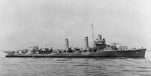 USS Bancroft (DD-598) - USS Bancroft (DD-598) off Boston in April 1942