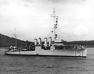 HMS Campbeltown (I42) - Starboard side view of Campbeltown as USS Buchanan in 1936