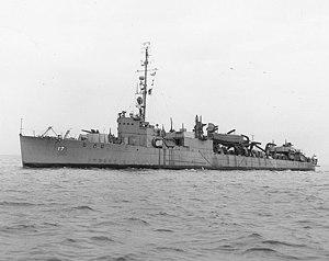 USS Crosby (APD-17) off the Mare Island Naval Shipyard, California (USA), on 24 February 1943 (19-N-41557)