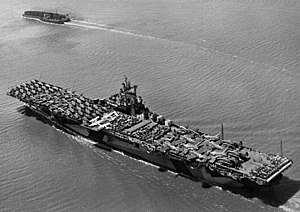 USS Intrepid (CV-11) - Intrepid off Hunter's Point in June 1944, her deck loaded with aircraft to be transported to the Pacific Theater