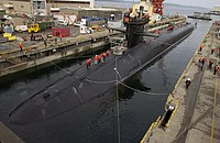 U.S. Navy ballistic missile submarine USS Michigan inside a flooded drydock