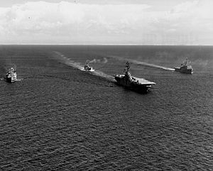 Task Force 76 - Image: USS Princeton (LPH 5) with Amphibious Ready Group Alpha off Vietnam 1968