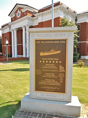 USS Talladega (APA-208) - A marker honoring the achievements of the USS Talladega stands in the courthouse square of the ship's namesake, Talladega, Alabama.