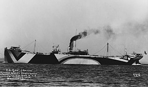 West Apaum painted in dazzle camouflage during sea trials on 20 June 1918