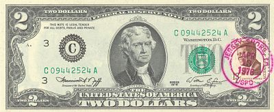 Bicentennial First Day Of Issue 2 Bill With Canceled JFK Postage Stamp