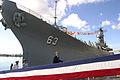 US Navy 031023-N-3228G-003 President George W. Bush and First Lady Laura Bush arrive with Commander U. S. Pacific Command, Adm. Thomas B. Fargo, aboard the retired battleship Missouri (BB 63).jpg