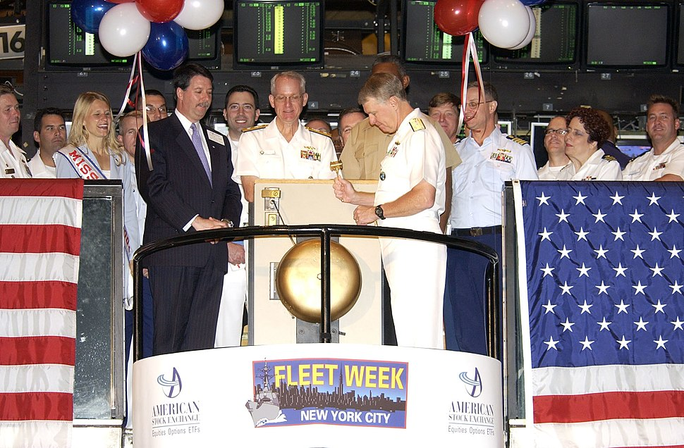 US Navy 040601-N-6371Q-096 Vice Adm. Gary Roughead, right, rings the opening bell at the American Stock Exchange, during the 17th Annual Fleet Week in New York