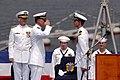 US Navy 050910-N-1693W-152 Capt. Jeffrey Bartkoski, right, relieves Capt. J. Stephen Maynard during the change of command ceremony for the U.S. Seventh Fleet command ship USS Blue Ridge (LCC 19).jpg