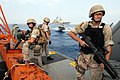 US Navy 070624-N-0841E-200 Members assigned to the visit, board, search and seizure (VBSS) team on board guided-missile cruiser USS Vicksburg (CG 69) take part in a boarding scenario training exercise.jpg