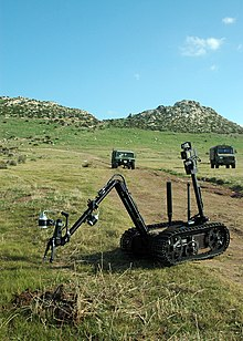 US Navy 071114-N-0577G-007 During a route clearance exercise, technicians from Explosive Ordnance Disposal Mobile Unit (EODMU) 8 operate the MK II Talon robot to investigate an improvised explosive device (IED).jpg