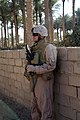 US Navy 071229-M-4746J-046 Petty Officer 2nd Class Gary Gilberthorn, assigned to I Co., 3rd Battalion, 3rd Marine Regiment, provides securtiy in Zaidon, Iraq.jpg