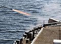 US Navy 080209-N-7282P-003 A RIM-116 ship-launched intercept aerial guided missile is launched from a rolling airframe missile launcher during a live-fire exercise aboard the aircraft carrier USS George Washington (CVN 73).jpg