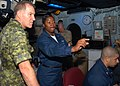 US Navy 080727-N-9493W-004 Air Traffic Controller 1st Class Erica Banks explains the SPN 43 Radar System.jpg