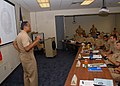 US Navy 080804-N-5411L-002 Vice Adm. D.C. Curtis speaks to officers attending the first Surface Warfare Officer School (SWOS) Division Officer course in San Diego since 2003.jpg