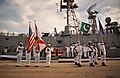 US Navy 100831-N-8590G-006 The U.S. and Pakistan national anthems are played during the decommissioning ceremony of USS McInerney (FFG 8) at Naval Station Mayport.jpg