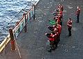 US Navy 110214-N-0569K-065 Sailors aboard the aircraft carrier USS Enterprise (CVN 65) participate in 9 mm pistol qualifications.jpg