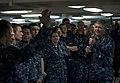 US Navy 110926-N-DR144-172 Vice Adm. Gerald R. Beaman speaks to Sailors during an all-hands call on the mess decks aboard USS Carl Vinson (CVN 70).jpg