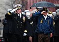 US Navy 111207-N-KV696-034 Rear Adm. Patrick J. Lorge and Frank Yanick render honors during a wreath laying ceremony at the U.S. Navy Memorial.jpg