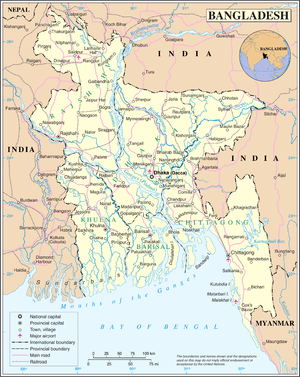 Outline of Bangladesh - An enlargeable map of the People's Republic of Bangladesh