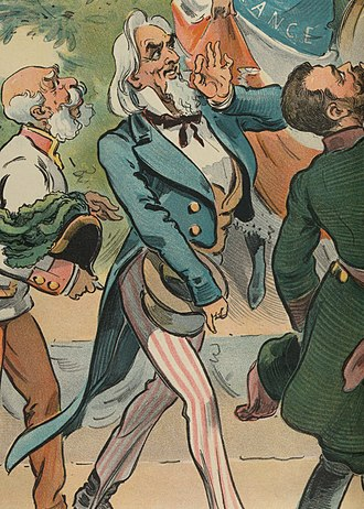 "OK gesture - Caricature of Uncle Sam making the ""OK"" gesture in a cartoon for the 1900 Paris Exposition"