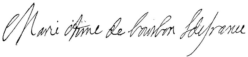 Archivo:Undated signature of Marie Anne de Bourbon, Légitimée de France (1666-1739), Princess of Conti.jpg