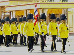 Royal Thai Marine Corps - Thai marine royal guards (full dress) in the procession in the royal cremation of HRH Princess Galyani Vadhana