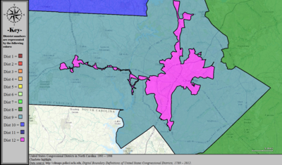 United States Congressional Districts in North Carolina (metro highlight), 1993 – 1998.tif