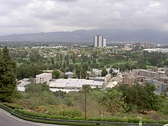 View Across Universal City With Burbank Studio District In Background