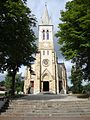 Ustaritz (Pyr-Atl., Fr) église Saint-Vincent-diacre, facade et tour.JPG