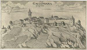 Gračišće - Gračišće in an engraving made by Valvasor from 1679.