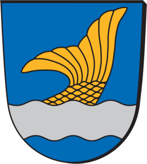 Municipalities of Finland - The coat of arms of Vantaa, incorporating heraldic elements of the region of Uusimaa, such as azure color and argent