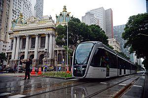 Avenida Rio Branco - Tram passes along Rio Branco Avenue.