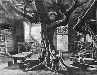 Die Walküre - Josef Hoffman's stage design for Act 1, Bayreuth 1876