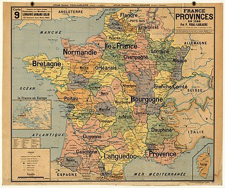 Map of the provinces of France in their final form in 1789, shortly before they were abolished the following year. Vidal-Lablache ndeg9 - Provinces en 1789.jpg