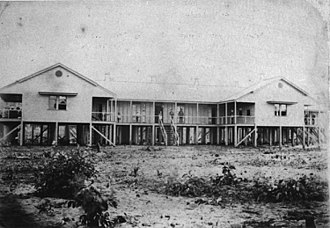 Cairns Hospital - View of the front of the Cairns Hospital and the covered verandahs, 1886