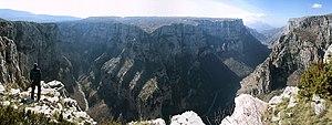 Vikos Gorge - Panoramic view of Vikos Gorge.