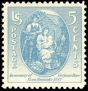 Virginia Dare - US postage stamp issued in 1937, the 350th anniversary of Virginia Dare's birth