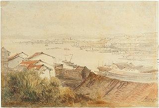 Vista de Niterói sobre o porto do Rio de Janeiro