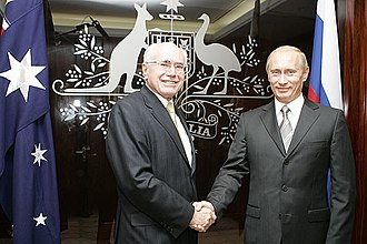 John Howard and Russian President Vladimir Putin in 2007. Vladimir Putin with John Howard-1.jpg