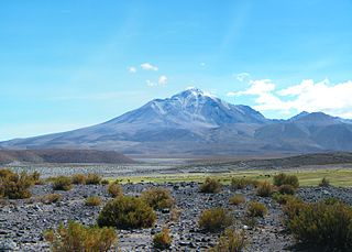 Isluga stratovolcano located in Colchane, near Chile/Bolivia border