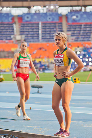 Volha Sudarava and Lynique Prinsloo (2013 World Championships in Athletics) 01.jpg