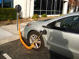 Plug-in hybrids in California - The Chevrolet Volt is the top selling plug-in hybrid in California and the U.S. Shown charging in a public charging point in Fremont, California.