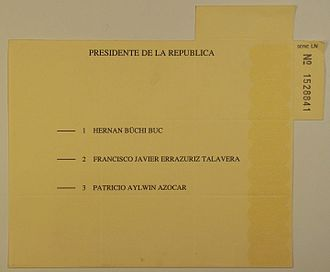 1989 Chilean general election - Presidential election ballot paper