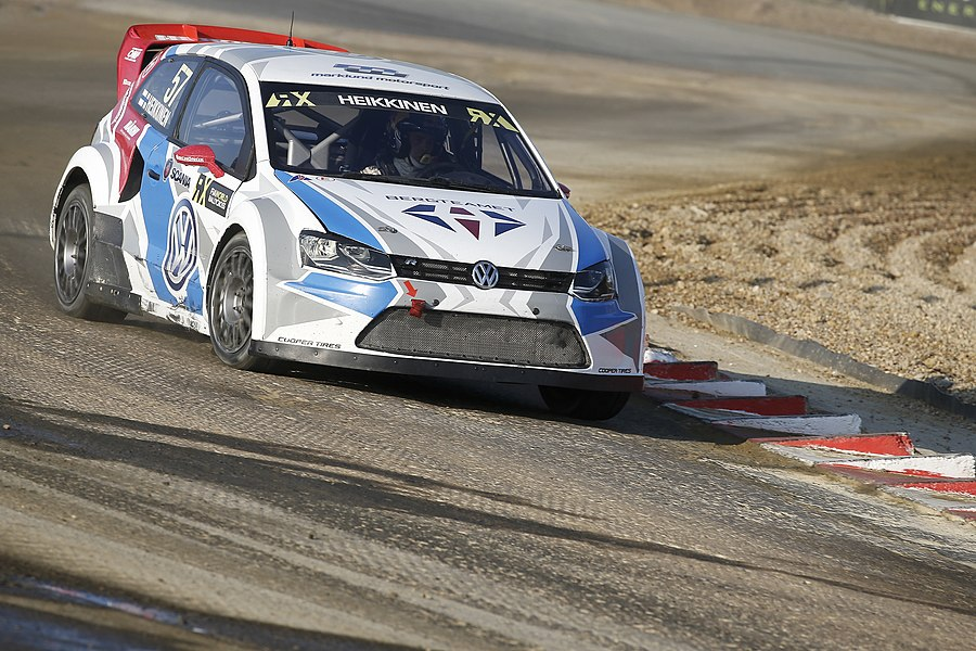 Finnish rallycross driver Toomas Heikkinen in his VW Polo R Supercar. Round 9 of the 2015 FIA World Rallycross Championship at Circuit de Lohéac, France.