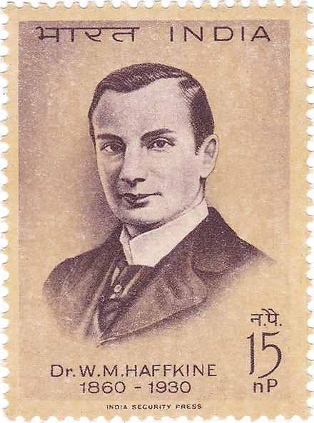 Haffkine on a 1964 stamp of India Waldemar Haffkine 1964 stamp of India.jpg